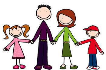 Parents and children cartoon image