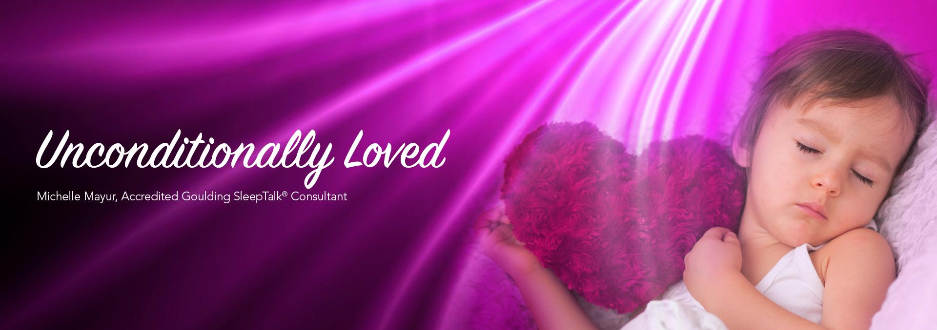 SleepTalk® Unconditionally Loved website logo. Sleeping child holding heart-shaped cushion.