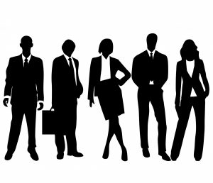 Professional group in silhouette
